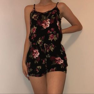 Black romper with flowers